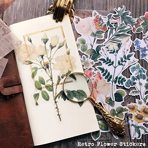 Blour Vintage papier, grote bloemen, illustratie, zelfklevend, knutselen, scrapbooking, dagboek, dagboek, decoratief, 40 stuks