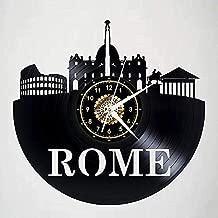 Reloj de ParedReloj de Pared Rome Landmark Model Vinyl Disc Clock Retro LED Lamp Vinyl Wall Clock Living Room Decoration Conmemorative Gift 12 Inch