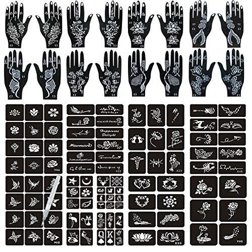 Henna Tattoo Stencils 120 PCS, 16 Sheets Black Henna Tattoo Templates for Halloween,Reusable Henna Tattoo Kit,DIY Tattoo Stencils,Body Art Stencils for Women and Teen Girls