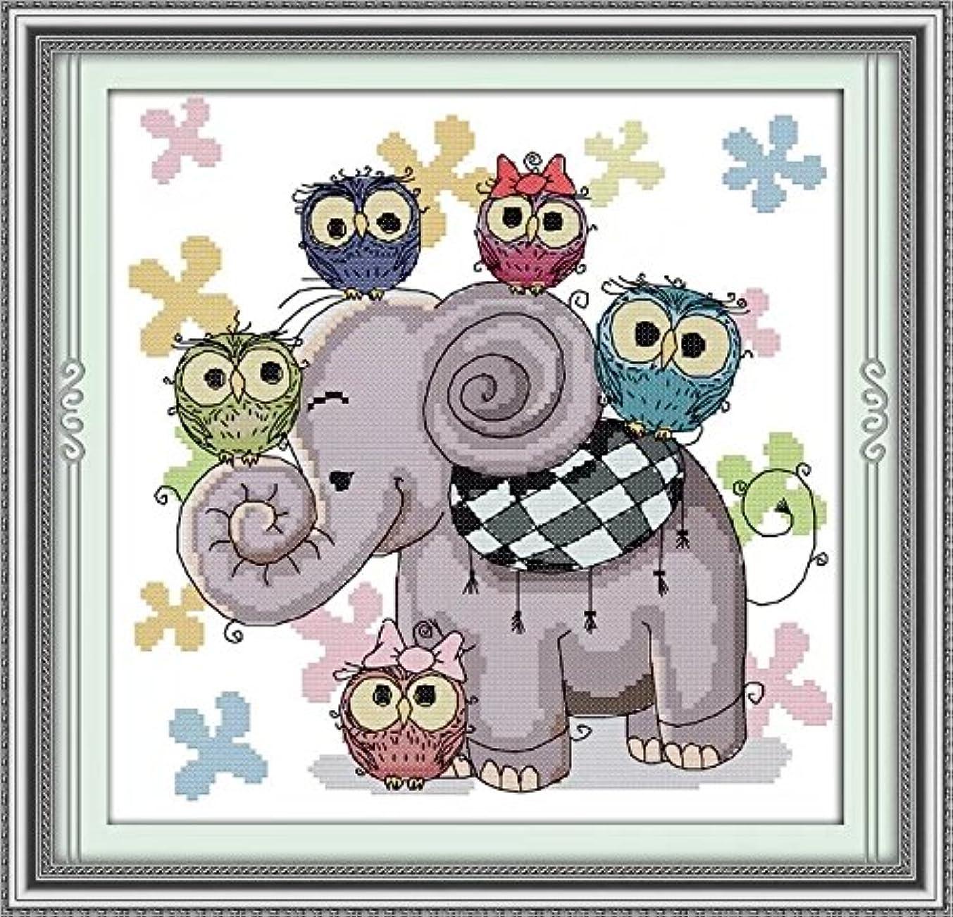 Joy Sunday Cross Stitch Kit 14CT Stamped Embroidery Kits Precise Printed Needlework-Elephant and owl 30×30CM