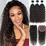 Water Wave Bundles With Closure Free Part 8A+ Brazilian Water Wave Human Hair Bundles With Lace...