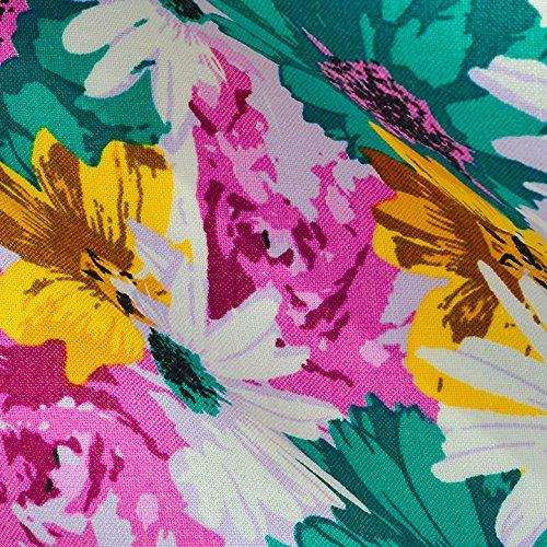 Hadson Craft - Tela de lino 100% puro con estampado floral - 148 cm / 58 pulgadas - Se vende por metro (100 cm), color amarillo y verde, talla única