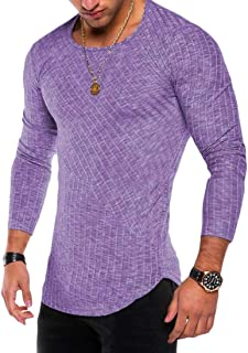 Macondoo Mens Long Sleeve Solid Top Tees Knitted Plain Crewneck T-Shirts