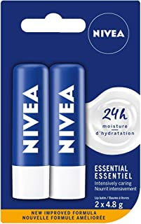 NIVEA Essential Lip Balm (2 x 4.8g), Intensive Caring Lip Moisturizer with Jojoba Oil, Natural Avocado & Shea Butter, 24H ...