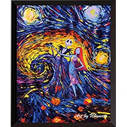Uhomate UNFRAMED Jack Sally Jack and Sally Nightmare Before Christmas Vincent Van Gogh Starry Night Posters Home Canvas Wall Art Baby Gift Nursery Decor Wall Decor A005 (8X10)