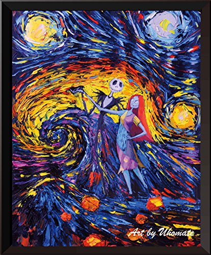 Uhomate Jack Sally Jack and Sally Nightmare Before Christmas Vincent Van Gogh Starry Night Posters Home Canvas Wall Art Nursery Decor Living Room Wall Decor A005 (5X7)