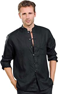 utcoco Men's Linen Mandarin Collar Roll-Up Sleeves Casual Buttoned Shirt