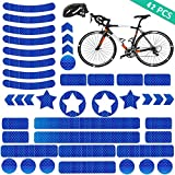 YIKEF Pegatinas Reflectantes, 42 Piezas de Reflectores Adhesivos Reflector Stickers, Visibilidad de Noche, para Cascos, Bicicletas, Cochecitos, Sillas de Ruedas y Más (Azul)