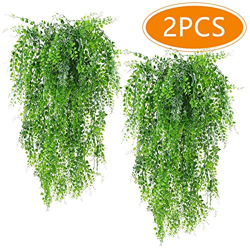 Musdoney 2Pcs Artificial Plants Vines Ferns Persian Rattan Fake Hanging Ivy Decor Plastic Greenery for Wall Indoor Outdoor Hanging Baskets Wedding Garland Decor