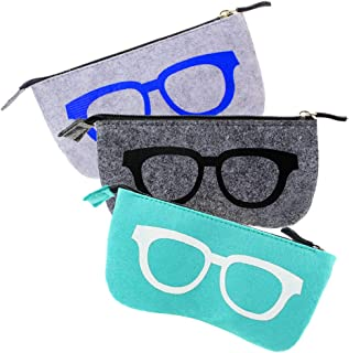 3 Pack Eyeglasses/Sunglasses Pouch Collection, Zipper Glasses Case Makeup Pouch