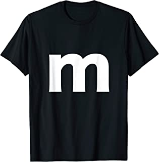 Letter m And Alphabet Lower Case Matching Halloween Costume T-Shirt