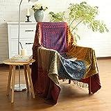 ele ELEOPTION Chenille Überwurf Decke, Jacquard Quasten Überwurf Decke Sofa Stuhl Bezug Dekorative für Bett Couch, Sessel, Folk Tribal Muster (Rot, 150 x 190 cm)