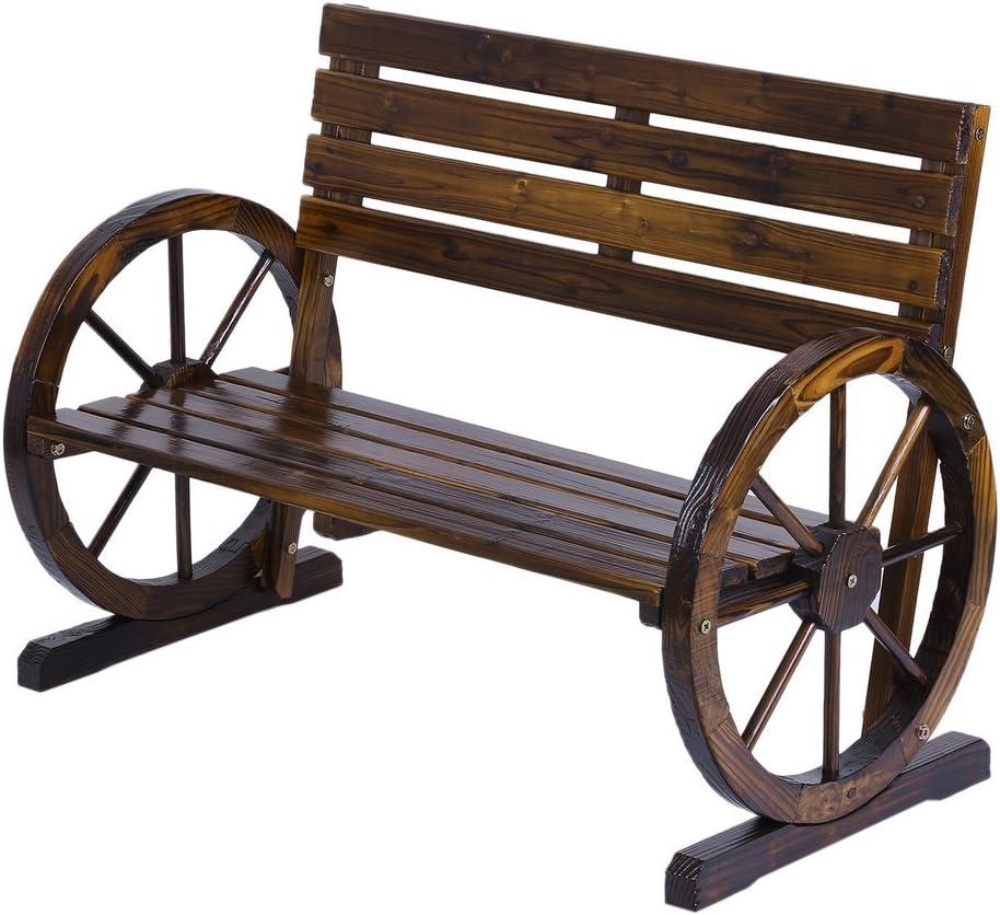 Charlotte Mall Rustic Super special price Wood Design Home Garden Decor Wheel Bench Wagon