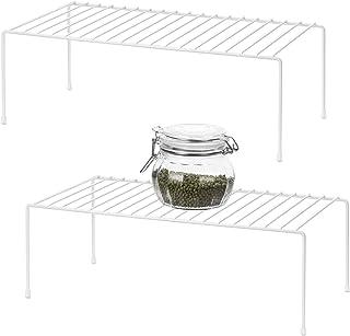 QIWODE Lot de 2 étagères de rangement en métal pour placard de cuisine, comptoirs, garde-manger, aliments et ustensiles, B...