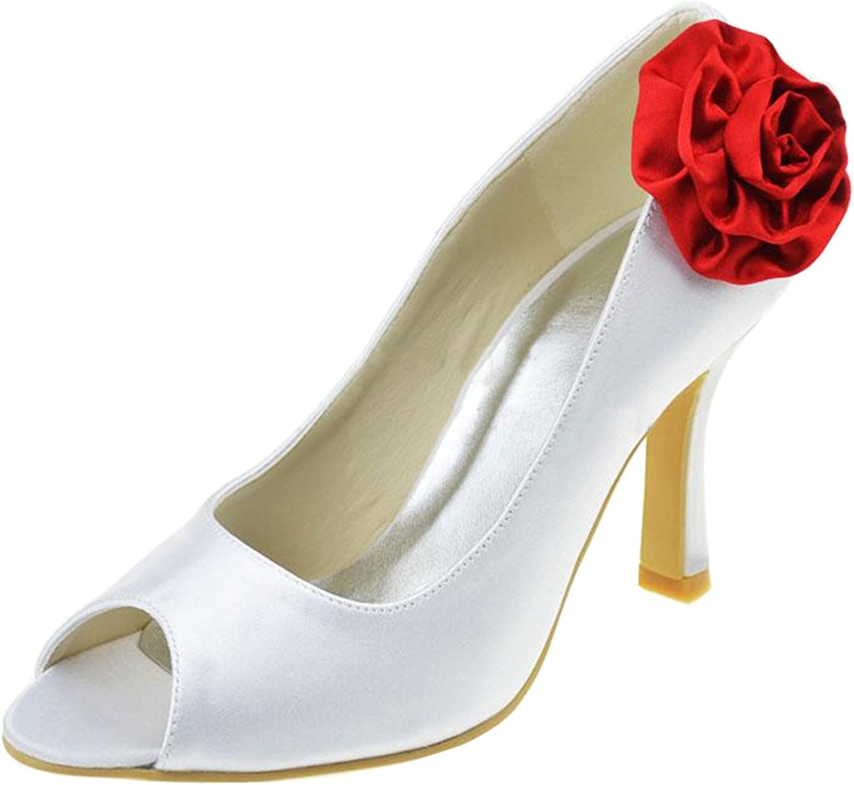 Minishion Girls Womens Flowers Fashion Satin Bridal Wedding Sandals