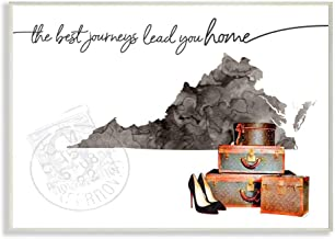 Stupell Industries Virginia State The Best Journeys Lead You Home Fashion Shoes and Luggage Illustration Oversized Wall Pl...