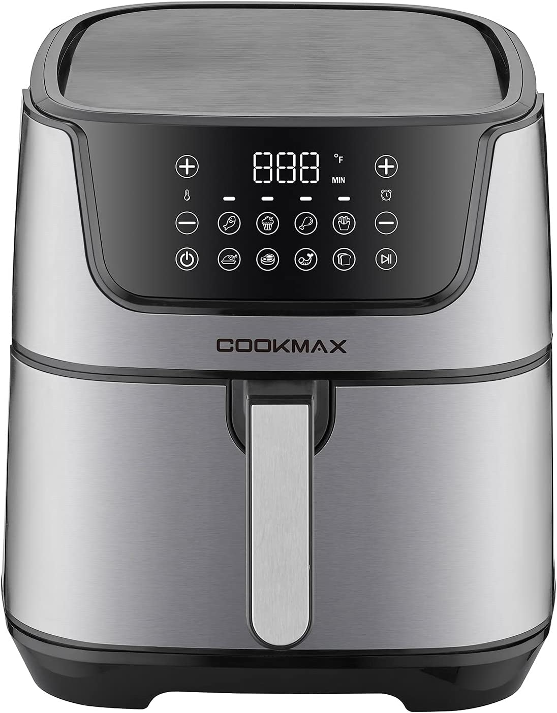 CookMax Large Air Fryer 6.8Quart with 8 Cooking Presets, Stainless Steel, Nonstick Basket UL Certified