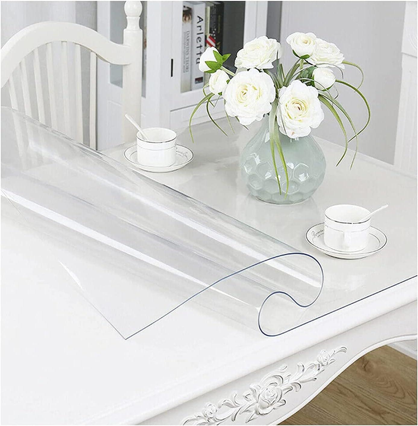 Tapete de escritorio transparente 1 mm, tapete de escritorio de PVC impermeable, tapete de protección lavable, utilizado para escritorio de oficina en casa, mesa de comedor (size:170x170cm/66.93x66.