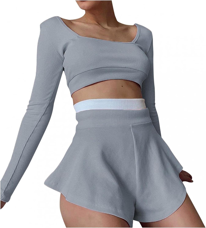 iLUGU Women's Fashion Sexy Yoga Sports Set Ribbed Knit Slim Backless Long Sleeve Crop Tops Sexy Skirt Pants Suit
