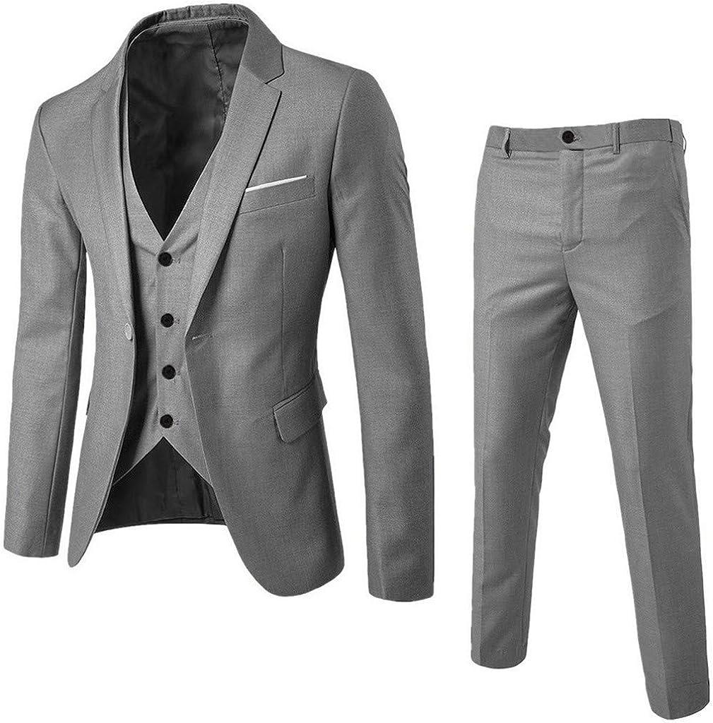Tefamore Traje 3 Piezas Hombre Slim Fit Vestido Hombre Elegante Estampados Hombre de Vestir Boda Modernos Fiesta Blazer Traje Chaqueta Chaleco Pantalones