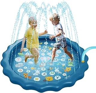 Msoah Piscina, Al Aire Libre Summer Round Pad Mat 170cm Inflable Splash Pad Water Toys Pool Outdoor Fun PVC Piscinas para Niños