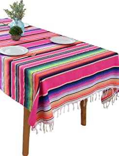 BOXAN Mexican Serape Blanket Tablecloth for Rustic Mexican Wedding Party Decorations, 59 x 84 inch Bright & Colorful Cotton Saltillo Serape Blanket