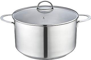 Eono by Amazon Cacerola grande para inducción de acero inoxidable pulido con tapa de vidrio templado y apta para horno y lavavajillas, 28 cm, 8 L, TG-2816