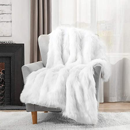 Luxury Plush Faux Fur Throw Blanket, Long Pile White Throw Blanket, Super Warm, Fuzzy, Elegant, Fluffy Decoration Blanket Scarf for Sofa, Armchair, Couch and Bed, 50''x60''