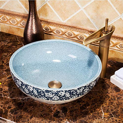 ykxykw Europa Style Countertop porselein wastafel wastafel keramiek blauw wastafel scheur