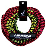Airhead 2-Section Tow Rope | 1-2 Rider Rope for Towable Tubes, Black, 7/16 inches