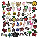 Niangzisewing Mix Lots Bulk 50pcs Iron on Patches sew on Patches Craft Embroidery Patch Motif Clothes Jackets Hats Backpacks Jeans Kids Rainbows Rose Bird Butterfly Hearts (Mix, from 1' to 3')