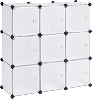 SONGMICS Cube Storage Organizer, 9-Cube DIY Plastic Closet Cabinet, Modular Bookcase, Storage Shelving with Doors for Bedroom, Living Room, Office, 36.6 L x 12.2 W x 36.6 H Inches, White ULPC116WSV1