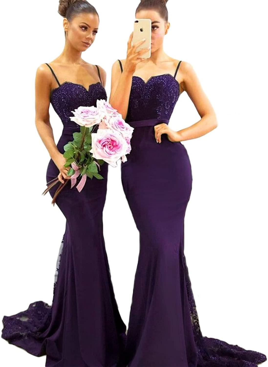 QiJunGe Sexy Spaghetti Straps Mermaid Bridesmaid Dresses Formal Prom Party Gowns