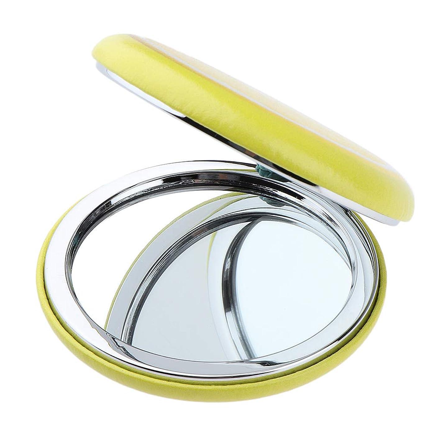 アフリカ蛾尾F Fityle 折りたたみ化粧鏡 メイクアップミラー ポータブル 美容鏡 旅行小物 3仕様選べ - イエロー - レモン