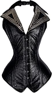 22 Double Steel Boned Waist Training Faux Leather Long Overbust Tight Shaper Corset #8139-FL