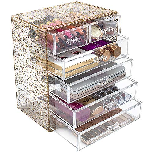 Sorbus Glitter Cosmetic Makeup and Jewelry Storage Case Rose Gold Display - Spacious - Great for Bathroom, Dresser, Vanity, and Countertop (4 Large, 2 Small Drawers, Glitter)