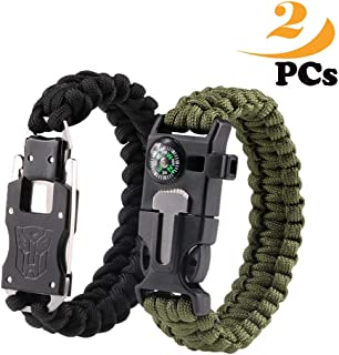 Survival Bracelets,Paracord bracelet, Self-defense stainless steel knife, Emergency Outdoor Paracord Survival Bracelet with Multi Tool - Embedded Compass, Fire Starter, Emergency Knife, Whistle, Rescu