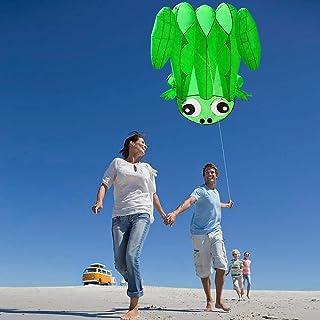 SECVBG 51Inch X 55Inch Soft Kite Sin Marco para Niños Adultos Playa Al Aire Libre Parque Easy Flying Kite con 30 M Cuerda Verde Juguetes Al Aire Libre
