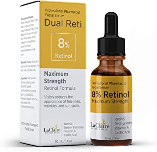 LaClaire 8% Retinol Complex Serum - Best Retinol Serum for Wrinkle Repair & Hyperpigmentation Treatment, Vitamin A Serum, Best Retinol Serum, Retinol Serum, Retinol super strength (15ml/0.5oz)