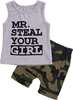 Toddler Baby Infant Boy Clothes Mr Steal Your Girl Vest +Camouflage Shorts Summer Outfit Set