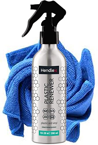 Hendlex Plastic Restorer for Cars - Cleaner and Protectant for Car Plastic, Vinyl, Leather and Rubber - Shines & Dark...