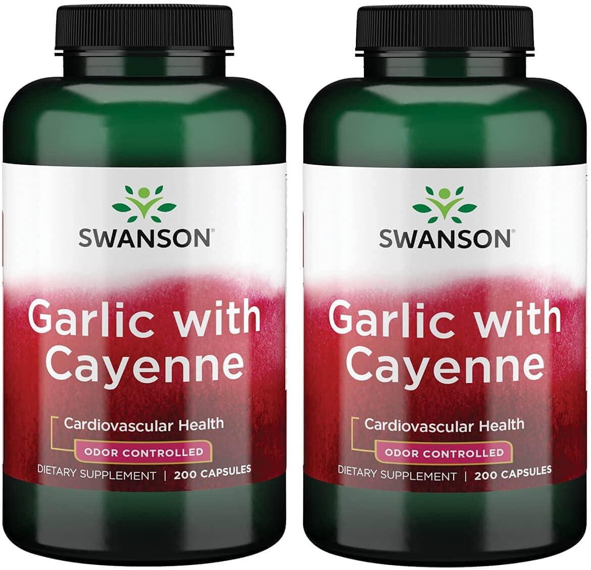 上等 Swanson Garlic メーカー直売 with Cayenne Capsules 200 2 Pack