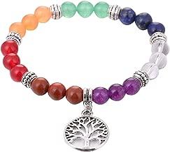 HLmjever 7 Chakra Reiki Healing Bracelet Real Stones Yoga Gemstone Prayer Bracelet for Unisex,Silver Alloy Tree of Life Charm