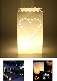Zaptex Luminary Paper Lantern Candle Tea Light Bag with Flame Resistant Paper for Holiday Wedding Party Decorations (50 Pcs, Heart-Shaped)