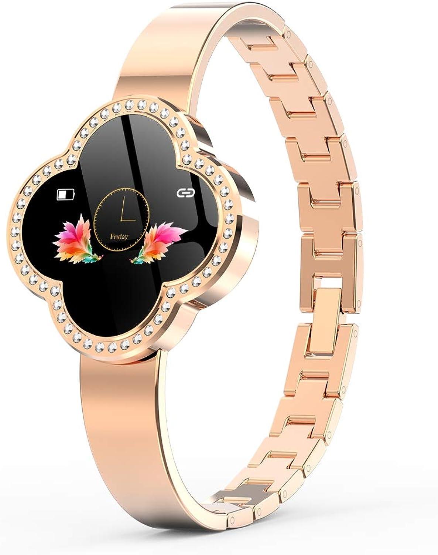 JIANGJIE Frau Smart Watch, Fitness Tracker mit Herzfrequenz-Blautdruck-Blautsauerstoff-Detektions-Schlaf-überwachungs-Fernbedienung IP67 wasserdicht
