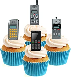 Sprinkles & Toppers Ltd Retro Mobile Phone Collection Edible Stand Up Wafer Paper Cake Toppers - 12 pack (5-10 business days delivery from UK)