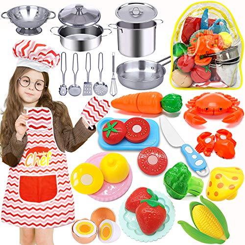 HapeeFun 29 Pezzi Giocattoli da Cucina per Bambini, Cucina Pentole Giocattolo per Bambini Taglio Cibo Verdura Acciaio Inossidabile Accessori Cucina, Grembiule e Cappello