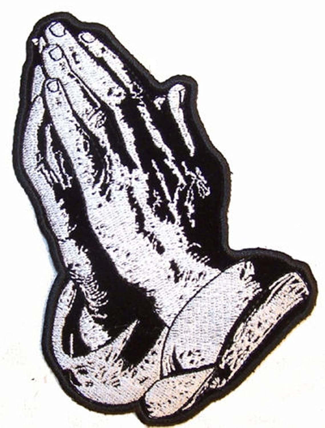 Religious Praying Hands - Novelty Embroidered Biker Jacket Patch - Iron on Backing or Sew On