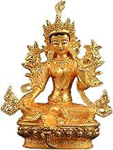 ZGPTX Green Mother Buddha Statue Tibetan Dense Small Buddha Statue Painted Metal Full of Wish Green Degree Mother Guanyin