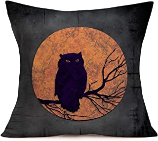 Pillowcase Halloween Night Moon with Animal Silhouette Pattern Cotton Linen Square Throw Pillow Case Owl Pillow Covers with Zipper Slipcover Home Sofa Decor for Halloween Pillowslip 18